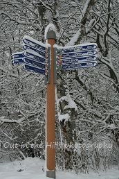 Signpost, Aviemore snow winter walks