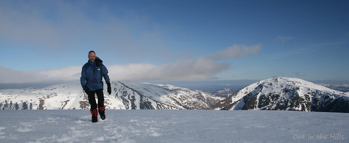 Braeriach - qualified mountain leader Tim Hall out in the hills on a guided trek in the Cairngorms near Aviemore.